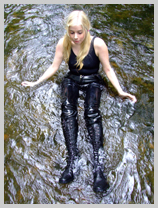 A jungle explorer in black PVC! featuring Modesty, the wild child